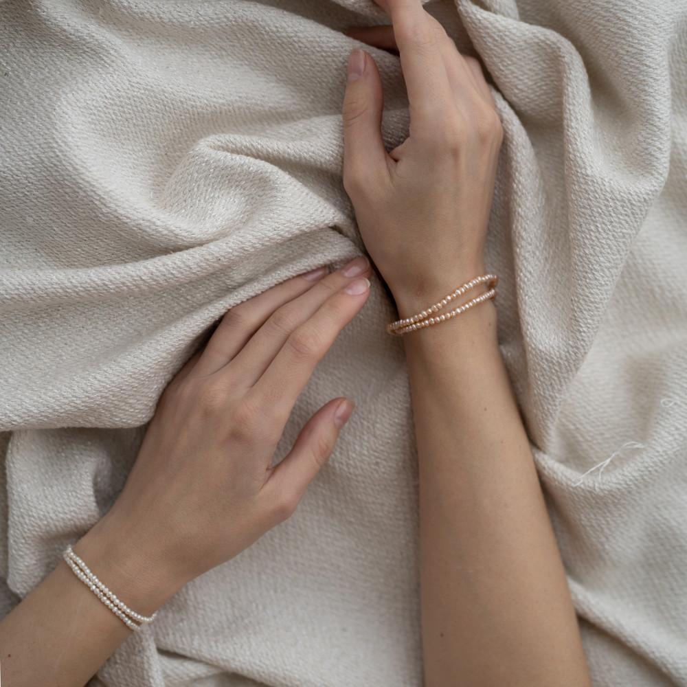 Браслет РОЗОВЫЙ ЖЕМЧУГ, фурнитура серебро-925