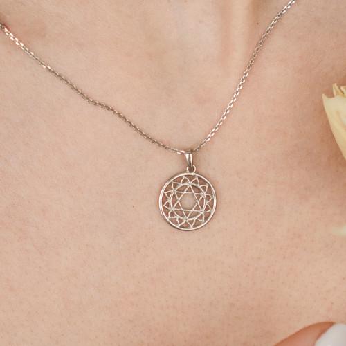Колье 4 ЧАКРА АНАХАТА маленькая, серебро-925